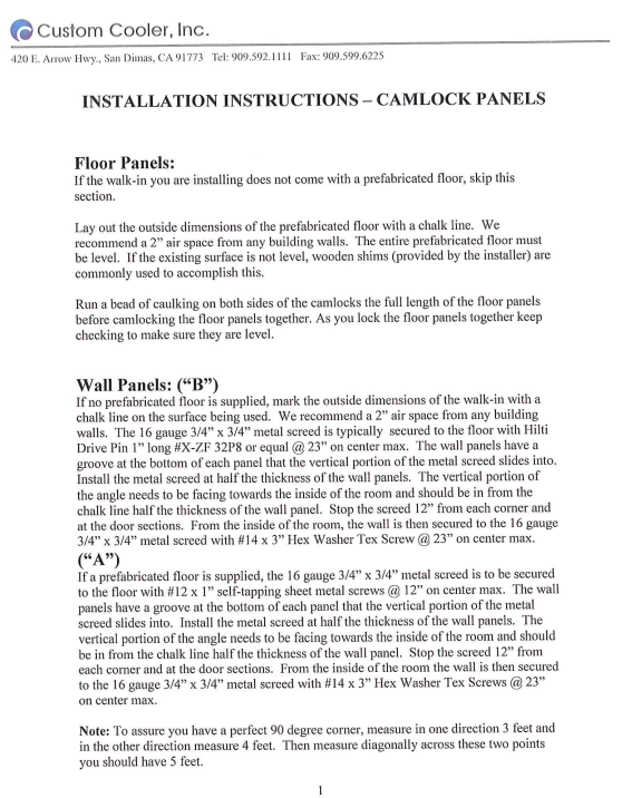 Camlock Panels Installation Instructions